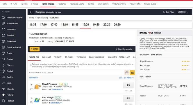 Horse Racing Betting Website